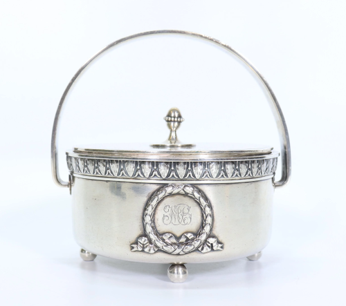 Russian Faberge Silver Container w Handle & Cover