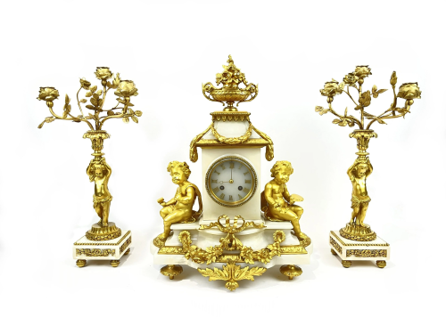 Antique 19 century French Bronze Clock Set