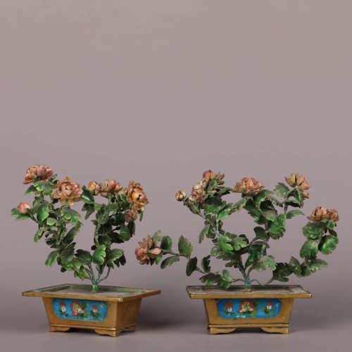 A Pair Of Chinese Gems Inlaid Flowers Cloisonne Bonsais