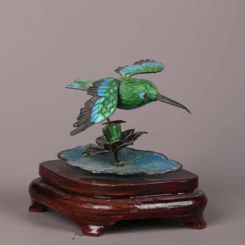 A Silver Green-Enameled Bird Ornament