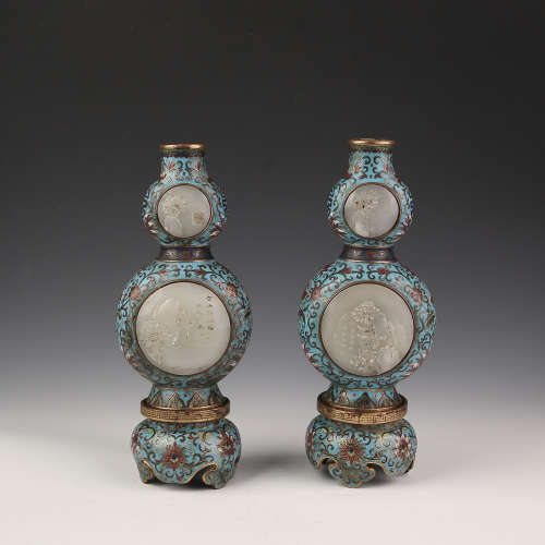 A Pair of Cloisonne with Jade Inlay Gourd Shape Vase