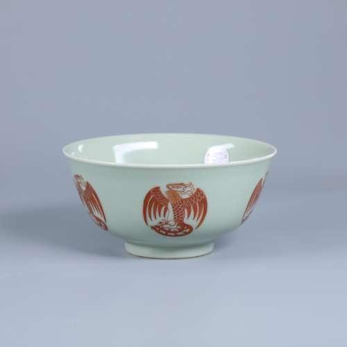 清道光 豆青釉团凤纹碗
