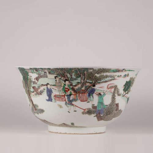 A Famille Verte Figures Porcelain Bowl