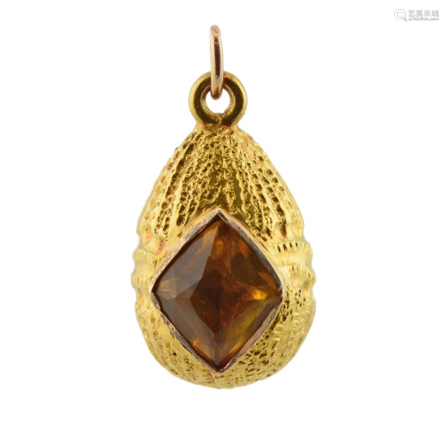 Antique jeweled gold miniature pendant Easter egg