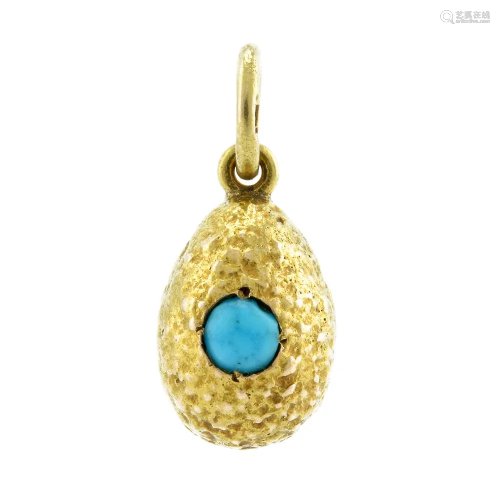 Russian gold cabochon turquoise pendant Easter egg
