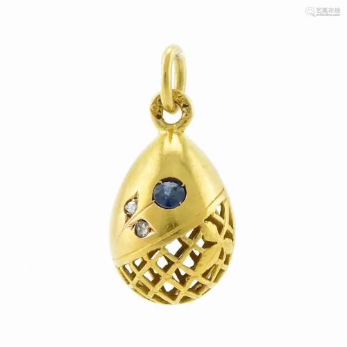A Russian gem-set miniature pendant Easter egg