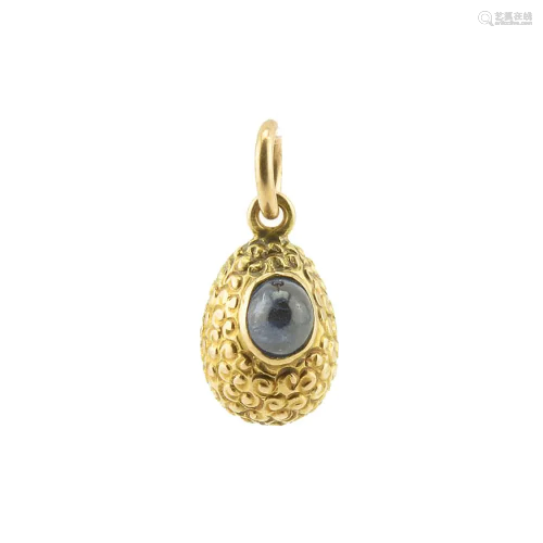 Russian gold & cabochon sapphire pendant Easter egg