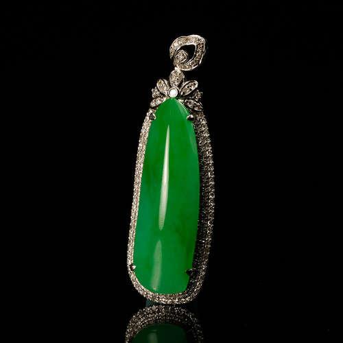 A Green Natural Grade A Jadeite Pendant