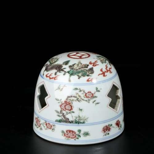 chinese wucai porcelain incense burner