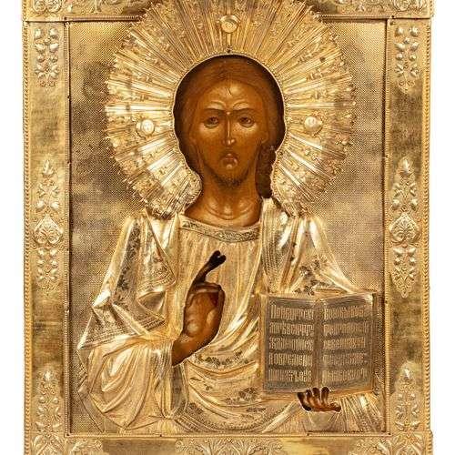 Grande icône du Christ Pantocrator. Tempera et or…