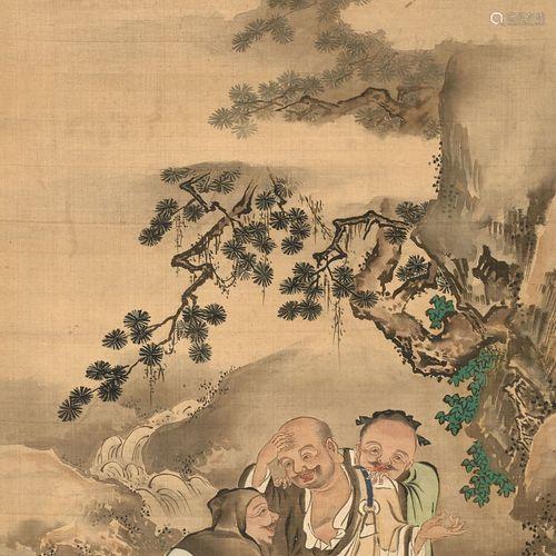 KAKEMONO À L'ENCRE ET COULEUR SUR SOIE, Japon, XIXe siècle A...