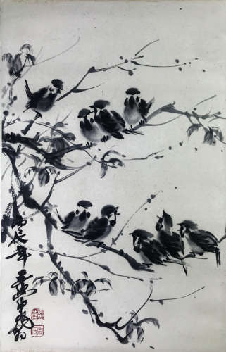 A Chinese Spring Sparrow Painting Scroll, Huang Zhou Mark