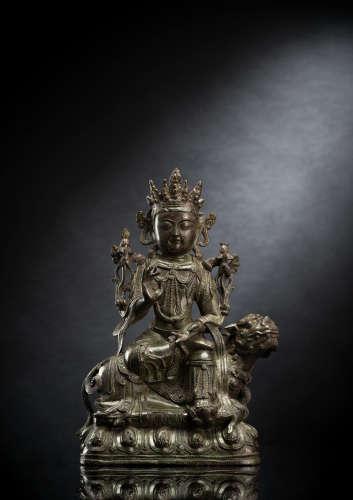 Möglicherweise Manjushri auf einem Löwen sitzend aus Bronze