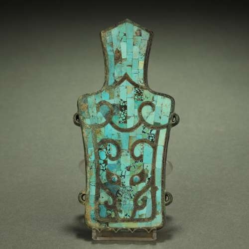 WARRING STATES PERIOD,TURQUOISES-INLAID BRONZE ORNAMENT