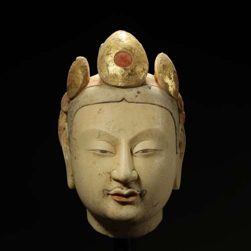 WESTERN WEI DYNASTY,MARBLE CARVED BUDDHA HEAD AND PAINTED