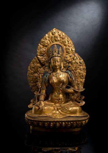 Feine feuervergoldete Repoussé-Figur der Sitatara