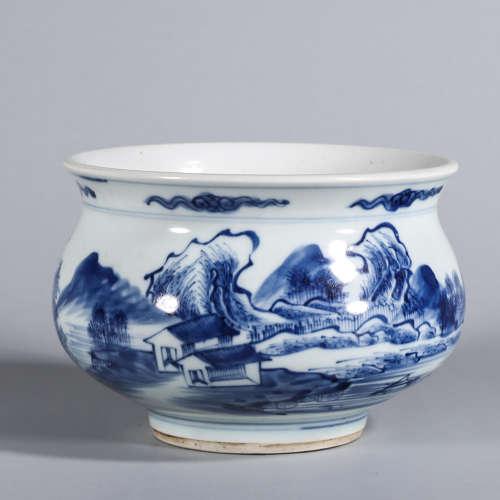 A blue and white landscape porcelain brush washer