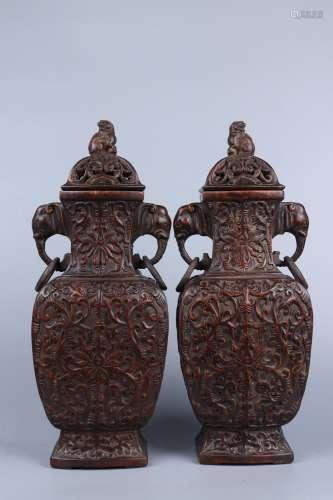 chinese eaglewood elephant-earred vases