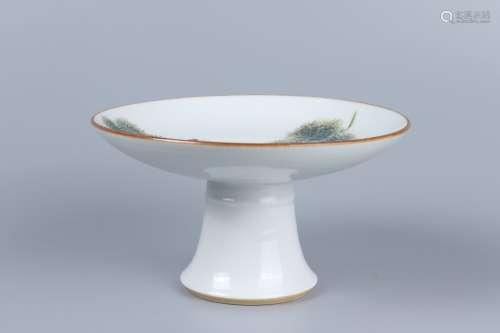 chinese famille rose porcelain stem dish