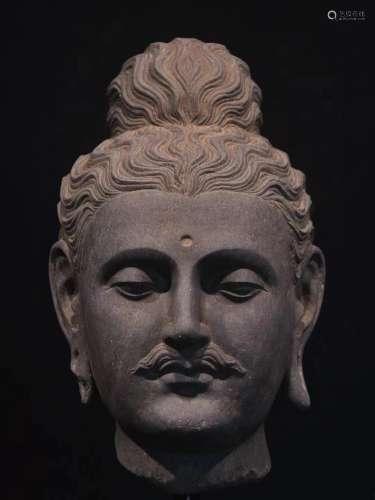 chinese Kendra grey schist Buddha head