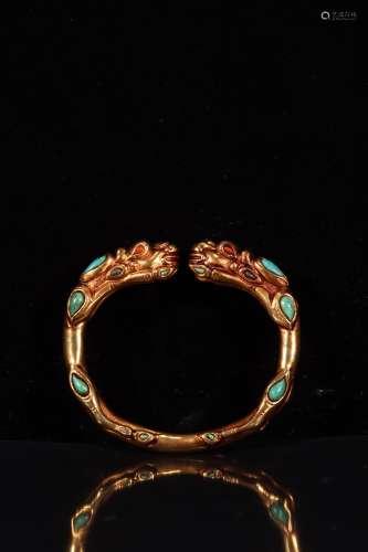 chinese gilt bronze bracelet inlaid turquoise