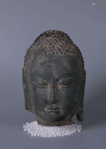 chinese qingshi stone buddha head