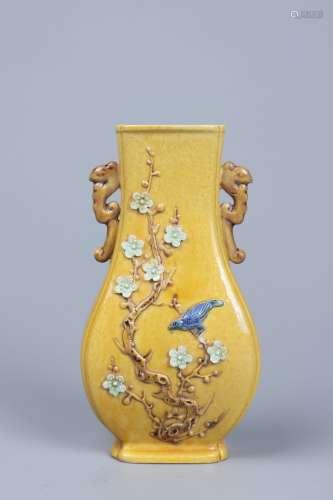 chinese yellow glazed porcelain vase