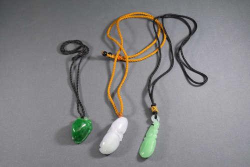 A Group Jadeite Pendant Necklace
