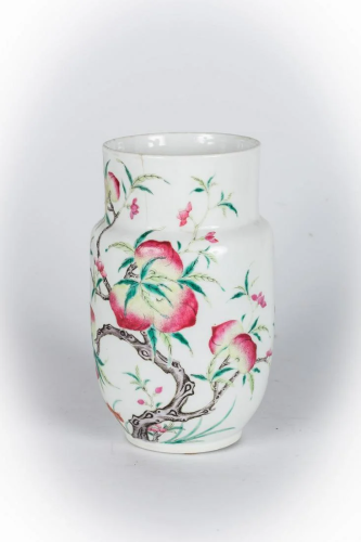 Arte Cinese A porcelain famille rose vase painted with