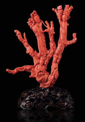 A carved coral branch, China, early 1900s