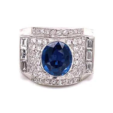 Retro Platinum Diamond Sapphire Chevalier Ring