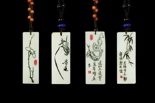 非遗传承人朱新波大师作品:和田玉籽料《梅兰竹菊》组合套牌