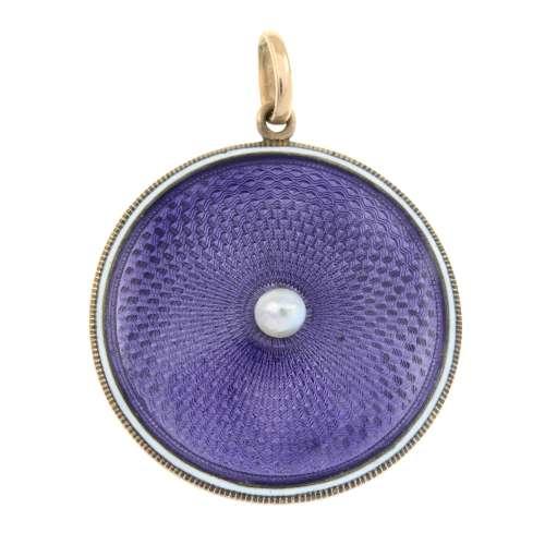 An early 20th century gold purple guilloche enamel pendant,