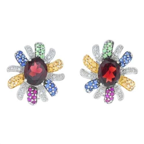 A pair of garnet earrings,