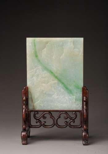 Jadeite jade table screen, Qing dinasty