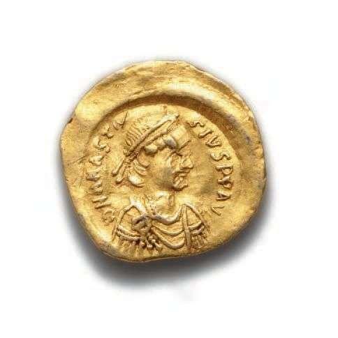 ANASTASE (491-518)Trémissis. Constantinople. 1,40 g.Son bust...