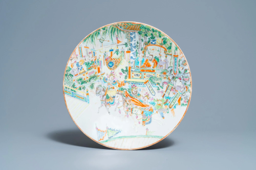 A large Chinese Canton famille rose 'horseriders' dish,