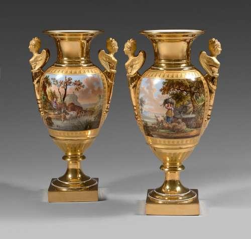 Paire de vases en porcelaine de Paris (Schoelcher) du début ...