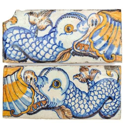 Two Rotterdam tin glazed dolphin border tiles