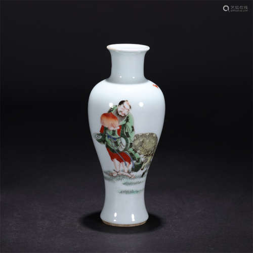 a famille rose figural meiping vase