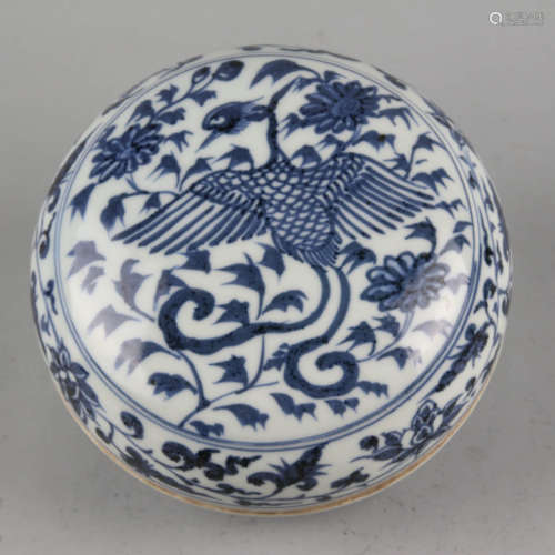 A blue and white peony and phoenix pomander