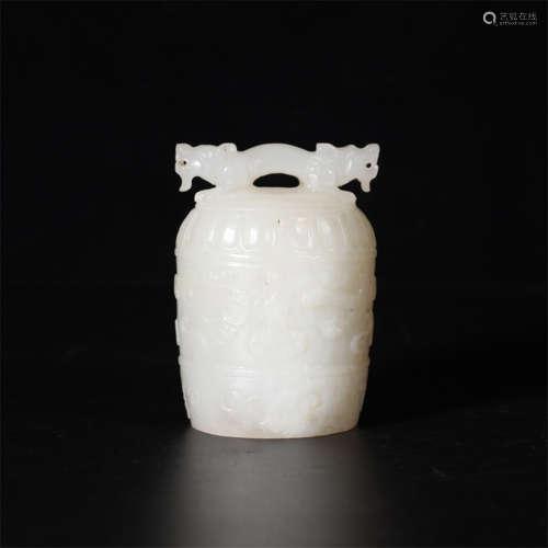 A hetian jade twin-hooked bell