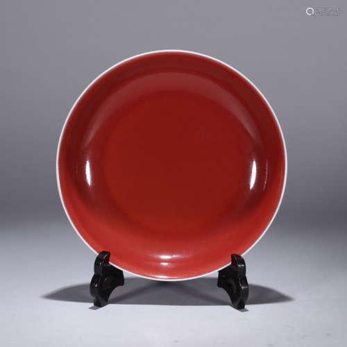 An altar-red-glaze dish