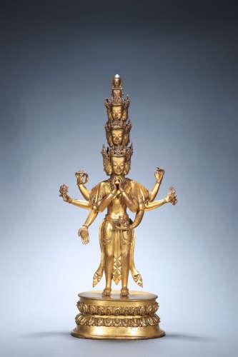 A Gilt Bronze Statue Of Eleven-Faced Buddha