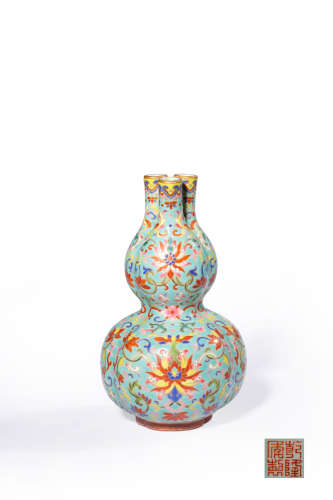 A Famille Rose Floral Three-Sprout Vase, Zun