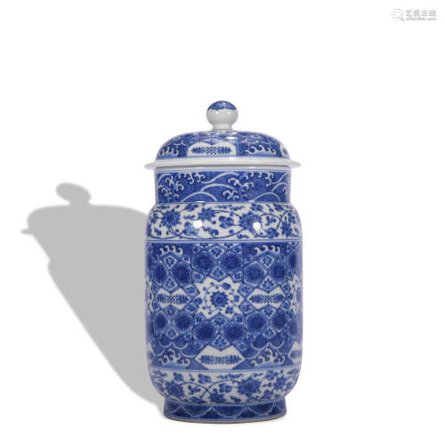 A blue and white 'floral' jar and cover