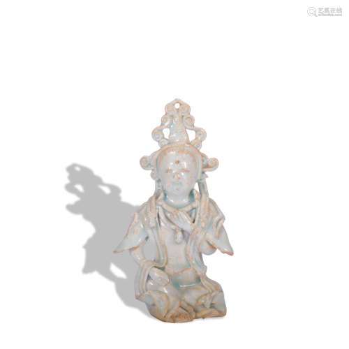 A celadon-glazed figure