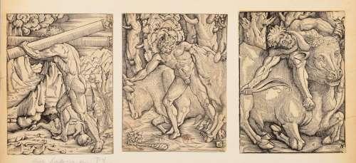 ANONYME Travaux d' Hercule, 3 planches. Bois attribués à Geo...