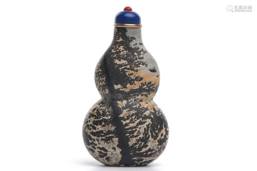 Chinese Marble Carved Gourd Snuff Bottle
