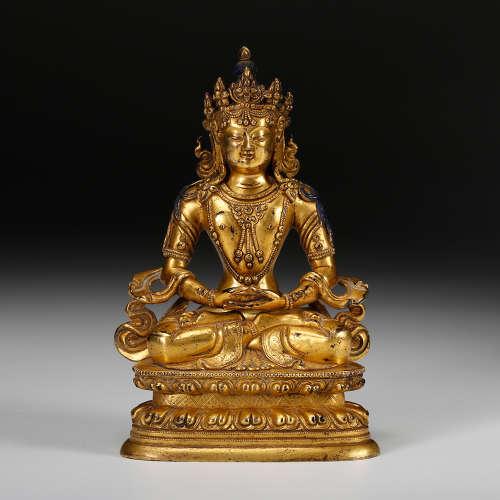 Chinese Gilt Bronze Seated Amitayus